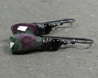 Ruby Zoisite Earrings Black Onyx Wire Wrapped Oxidized Sterling Silver Gift for Her