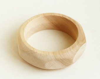25 mm Wooden hex nut bangle unfinished - natural eco friendly hex25
