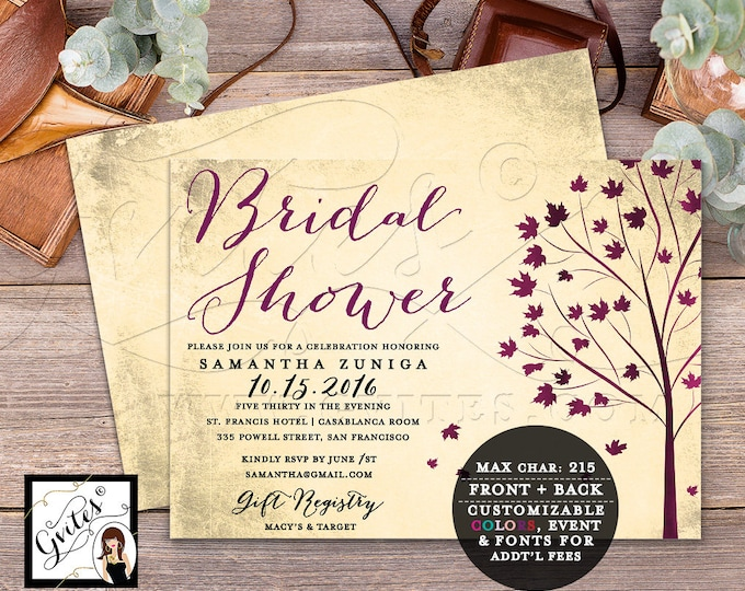"Fall Bridal Shower Printable Invitation, Autumn Tree Leaves Invitations, Double Sided, 7x5"" Digital, DIY, Gvites."