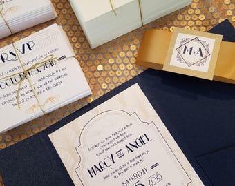 Gatsby Art Deco Wedding Invitation Pocket Fold