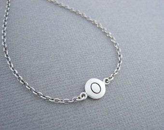Initial O Bracelet, Initial Charm Bracelet, Silver Initial Bracelet, Silver Initial Charm Bracelet, O Initial
