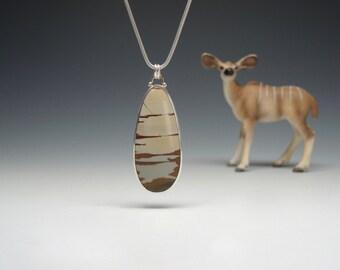 Owyhee Jasper Pendant, Oregon Picture Jasper, Sterling Silver, 14kt Gold, Handmade SALE