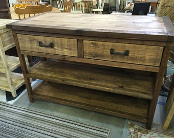Reclaimed Or Barn Wood Island With Stool Storage Customized As Console Table Buffet