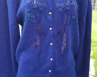 Vintage 80's does 40's 50's glam bead sequin embroidered front cardigan sweater