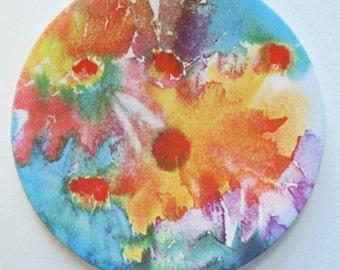 Floral Sandstone Coaster Orange Aqua