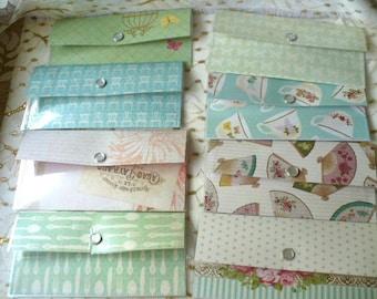Cash Envelope Wallet, Slim Wallet, Minimalist Wallet, Fans, Tea Cups, Floral, Laminated, Snap, 3.25 x 7 Inches