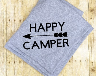 Happy Camper, Cotton Camping Blanket,
