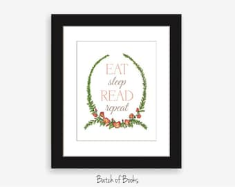 Eat Sleep Read Printable Book Art Digital Print