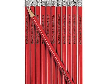 Custom Pencils, Engraved Pencils, Personalized Red Pencils, Custom Pencils Set, Custom Name Pencils, Stocking Stuffers, Smile Face Pencils