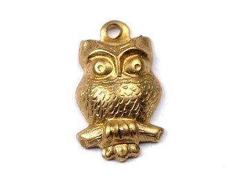 8 pcs Very Small Raw Brass Owl Charms Stampings