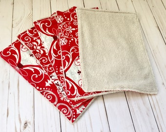 RTS, Christmas towels, Christmas kitchen towels, handmade towels, eco friendly gift, red towels, Christmas decor, Christmas decoration