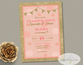 Pink & Gold Invitation | Glitter, Blush, Golden, Birthday or Shower Invitation | Instant Download TEMPLATE | Editable Text PDF
