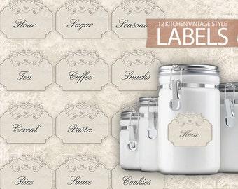 Printable Chalkboard Kitchen Labels Set 20 Digital Pantry
