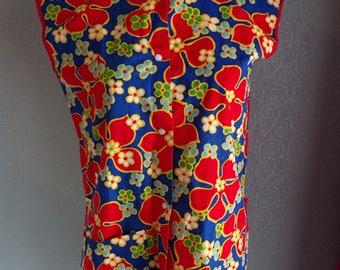 1970's ART SMOCK TOP 70's floral artist S M