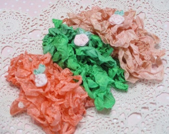 15 yards of Pretty Ribbons-GEORGIA PEACH-Seam Binding-Crinkled-ATC-Supplies