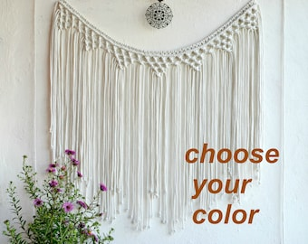 Large Macrame wall hanging Fiber wall art Macrame curtain  Bohemian Wall Tapestry Banner Macrame Boho Backdrop Macrame Garland Cotton