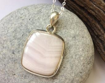 Mangano pendant, Rose Pink calcite sterling silver pendant, Natural pink stone, Square shape mangano pendant, mangano jewelry, gift for her