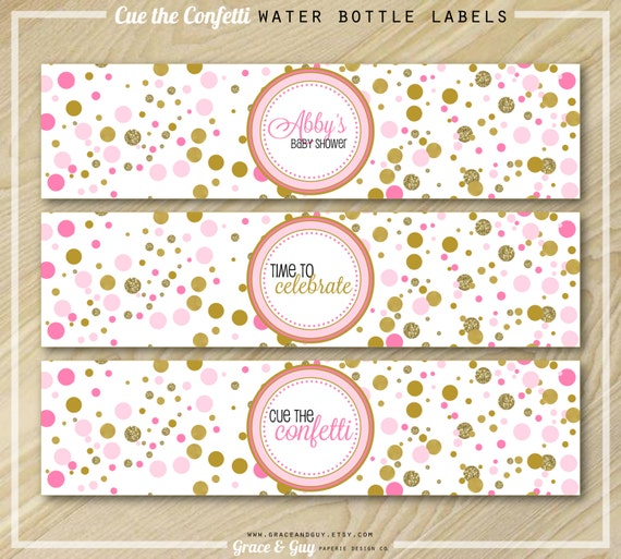 Water Bottle Name Tags: Pink And Gold Water Bottle Labels