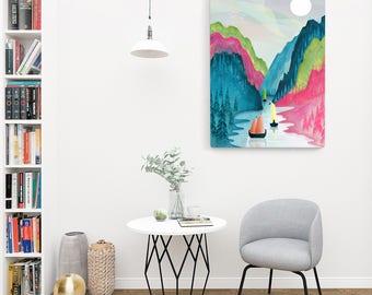 Norway Print, Norway Fjord Art Print, Large Wall Art, Poster, Landscape art Illustration, Nordic Travel Art, Home Decor, Gift Valentines