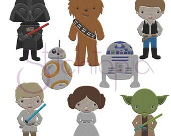 Space Guys Embroidery Design Set - Star Wars Digital Machine Embroidery Design Bundle - Instant Download  - 8 Star Wars Embroidery Designs