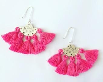 Large Fan Tassle Earrings - Boho - Gypsy - Festival - Silk -