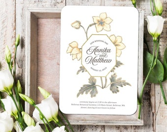 Louise Vintage Wedding Invitation Suite; Invitation, Reply, Leaves, Garden, Floral