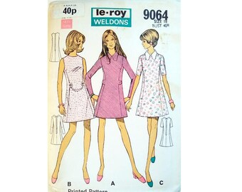 """UNCUT Le Roy Weldons 9064 Round Neck or Peter Pan Collar Dress with Button Detail Sewing Pattern Size Bust 40"""" UK 18"""