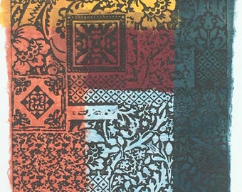 """Chine collé """"fabric pattern"""" photo etching"""