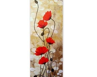 Original Acrylic Painting-Poppy Field 3-Floral Abstract Painting-Poppy Painting-Red Flowers-Custom-MADE TO ORDER-Modern Painting