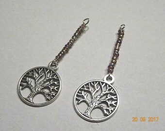 Charms with purple seed beads