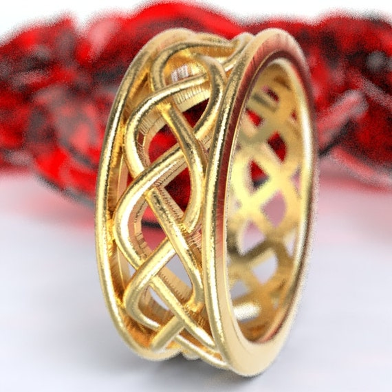 Celtic Wedding Ring With 3 Cord Braided Knotwork Encased in Rails Design in 10K 14K 18K Gold, Palladium or Platinum Made in Your Size CR-271