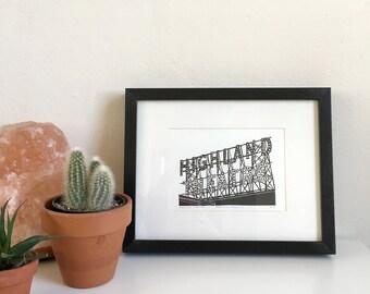 Highland Theatre, Framed Letterpress Print