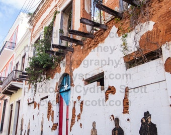 travel photography,photo from puerto rico,Framed,Color Prints, Gallery Prints, San Juan, Puerto Rico, san juan street scene