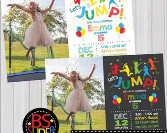 JUMP Invitation, JUMP Birthday Invitation, Bounce Birthday party, Bounce House party, Trampoline Birthday invitation