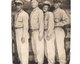 """Vintage Snapshot """"On Leave"""" Handsome Soldiers Line Up For Arcade Photo Found Vernacular Photo"""