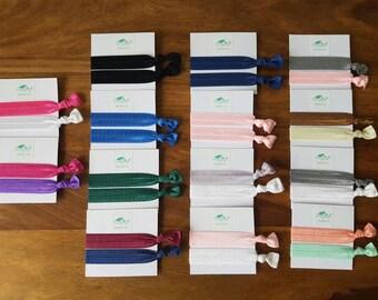 Plain Coloured Girls Hair Ties / Girls Hair Elastics / Hair Ties / Hair Elastics / Girls Hair Bands / Foldover Elastic Hair Ties