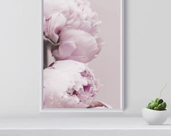 Peony Art Print, Botanical Wall Art, Botanical Print, Peony gift,  Nordic Print, Peony Print, Peony Photography, Blush and pink printable