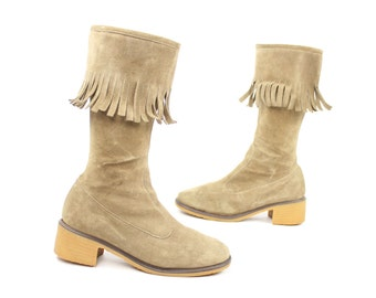 Vintage 70s Suede Fringe Boots FRANCE Tan Leather Knee High Tall 1970s Hippie Boho Festival Fashion 9.5