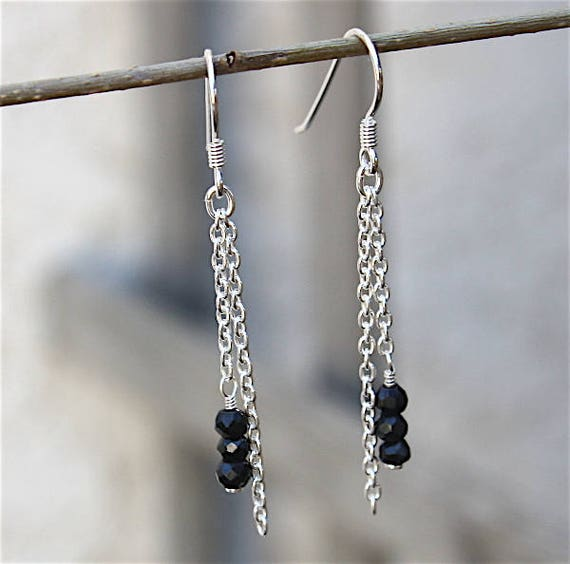Earrings silver massive 925 chain and spinel black