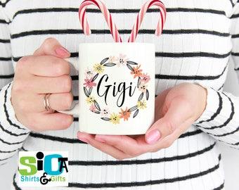 Gigi floral wreath mug, Gift for Gigi, Gift for Grandmother,Grandmother mug,Gigi,Grandmother,Gift for her, Mothers Day,New Grandmother gift