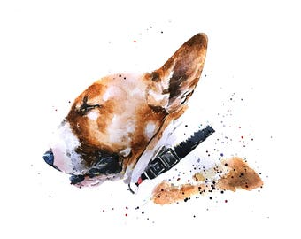 """Eyes wide shut - Bull Terrier """" Print Watercolour A3 (30*40cm/16*12 Inches)"""