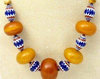 """AFRICAN COPAL AMBER 22.5"""" Necklace, Venetian Chevron Beads, Indian Head Penny"""