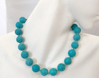Vtg Chinese Turquoise Bead Necklace
