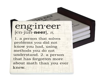 Engineer Definition Coaster Set - Sandstone Tile with Cork Back - 4 Piece Set -  Wood Box Caddy Included