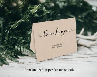Wedding Thank You template, Wedding Thank You, Thank You Template, Thank You Card, Printable Thank You, Folded Thank You, Template, BD6043