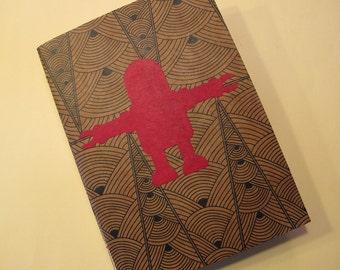 Robot Handmade Journal Notebook: Red Art Deco Coptic Bound Book