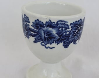 Blue Transferware Egg Cup, Booths China egg cup, Made in England egg cup, Flow Blue style transferware egg cup