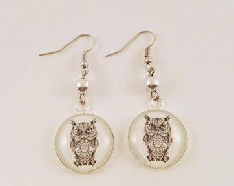 "-> ""Black OWL"" round Cabochon dangle earrings"