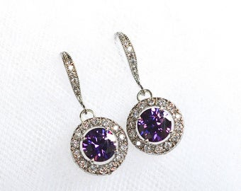 Handmade Purple Amethyst & Clear Cubic Zirconia CZ Halo Dangle Bridal Earrings, Bridal, Wedding (Sparkle-2313)