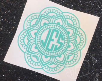 Mandala Monogram Decal | Yeti Decal | Mandala Decal | Mandala Monogram | Rtic Decal | Car Decal | Preppy